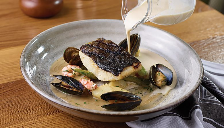 Black cod and mussels at Honey Salt in Vancouver, BC