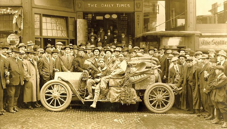 The automobile, first seen in Seattle around 120 years ago, was still a  novelty in 1912 when E.J. Davis and E. Edward Reed completed their Chicago to Seattle drive, captured in this photo taken in front of the Daily Times offices