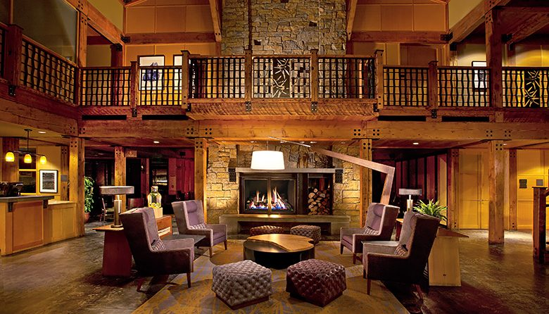 The sumptuous lobby at Willow's Lodge is the perfect place to relax after a day of wine tasting
