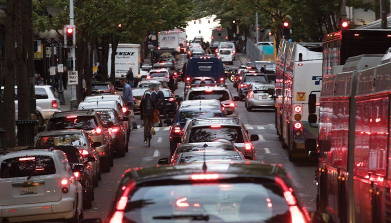 Downtown Seattle rush hour traffic