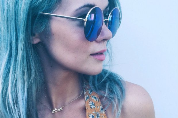 Cobrea (then with blue hair) models a mountain pendant necklace by Sweet Home Nashville; photo: Wish You Were Northwest