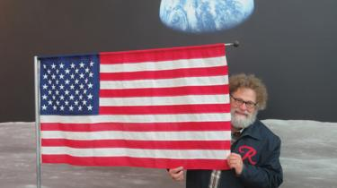 Knute Berger, recreating a historic moment, courtesy of the Museum of Flight's Destination Moon exhibit
