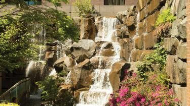 Waterfall Garden Park in Pioneer Square, Seattle, Washington