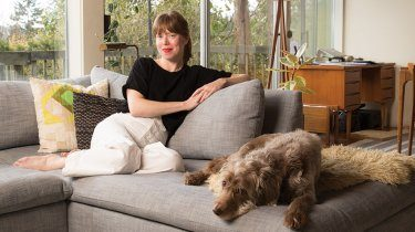 Author Molly Wizenberg in her home with dog
