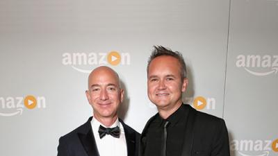 Amazon's Jeff Bezos and Roy Price, September 18 at the Sunset Tower Emmy party. Oscars next?