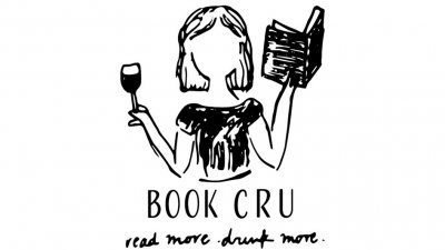 Illustration of woman holding book and wine glass