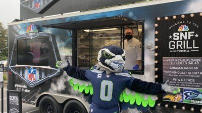 Wednesday's event featured appearances by the Seahawk Dancers and the Seahawks' mascot, Blitz